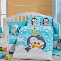 Lenjerie de pat copii Bumbac 100% Penguin Blue
