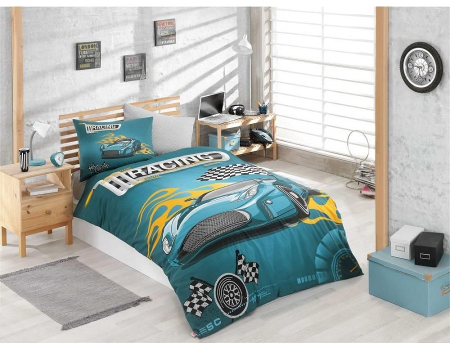 Lenjerie de pat o Persoana Bumbac 100% Ranforce Racing Turquoise