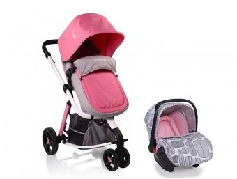 Carucior copii 3 in 1 C1 Grey and Pink
