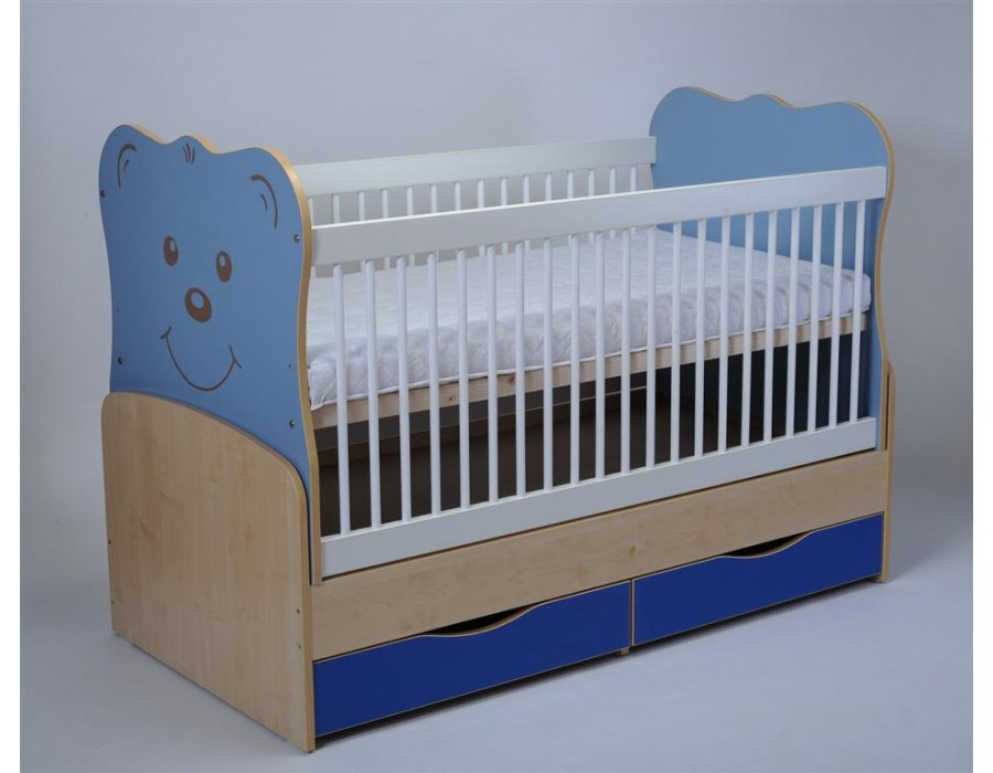 Patut Copii-Bebe Tip 26 Transformabil Albastru cu Leganare si Sertar