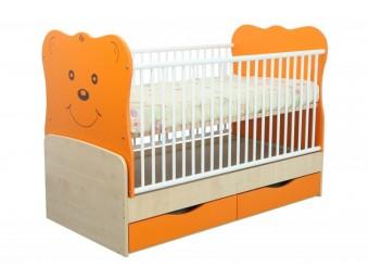 Patut Copii-Bebe Tip 27 Transformabil Orange cu Leganare si Sertar