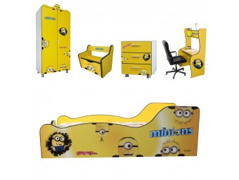 Pachet Dormitor Complet Copii Minions Mare - 2-12 ani