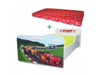 Pachet Pat copii Start Racing – Mare + Saltea Spuma 160x80x12 - 2-12 ani