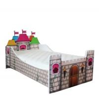 Pachet Pat Copii Castel Mic + Saltea Spuma 140x70x12 - 2-8 ani