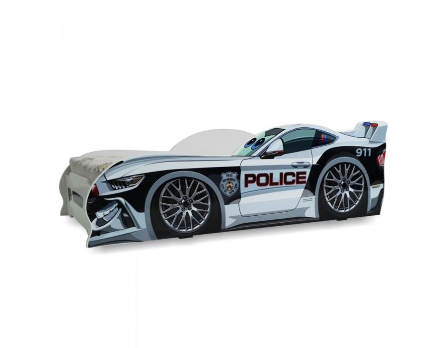 Pachet Pat Copii Police Mic + Saltea Spuma 140x70x12 - 2-8 ani