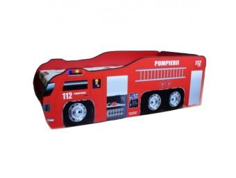 Pachet Pat Copii Pompierii 1 Mic + Saltea Spuma 140x70x12 - 2-8 ani