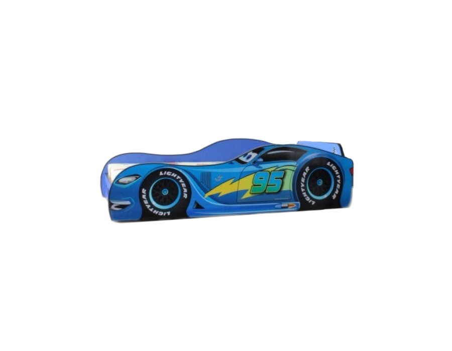 Pachet Pat Copii Speed Blue Mare + Saltea Spuma 180x90x12 - 2-14 ani
