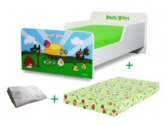 Pachet Pat copii Start Angry Birds Mare + Saltea Spuma 160x80x12cm + Husa Impermeabila - 2-12 ani