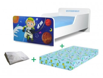 Pachet Pat copii Start Astronaut Mare + Saltea Spuma 160x80x12cm + Husa Impermeabila - 2-12 ani