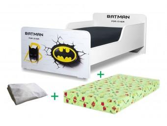 Pachet Pat copii Start Batman Mic + Saltea Spuma 140x70x12cm + Husa Impermeabila - 2-8 ani