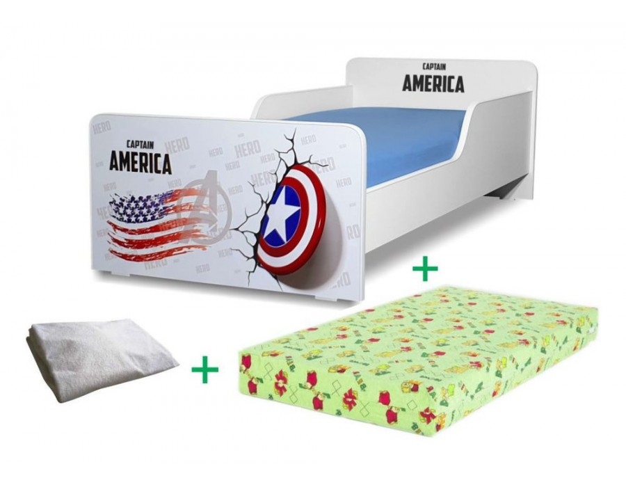 Pachet Pat copii Captain America Mare + Saltea Spuma 160x80x12cm + Husa Impermeabila - 2-12 ani
