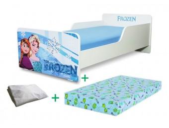 Pachet Pat copii Start Frozen Mic + Saltea Spuma 140x70x12cm + Husa Impermeabila - 2-8 ani
