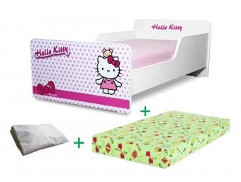 Pachet Pat copii Start Hello Kitty Mic + Saltea Spuma 140x70x12cm + Husa Impermeabila - 2-8 ani