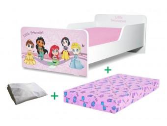 Pachet Pat copii Start Little Princesses Mic + Saltea Spuma 140x70x12cm + Husa Impermeabila - 2-8 ani