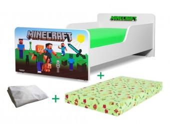 Pachet Pat copii Start Minecraft Mic + Saltea Spuma 140x70x12cm + Husa Impermeabila - 2-8 ani