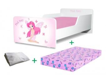 Pachet Pat copii Pink Fairy Mare + Saltea Spuma 160x80x12cm + Husa Impermeabila - 2-12 ani