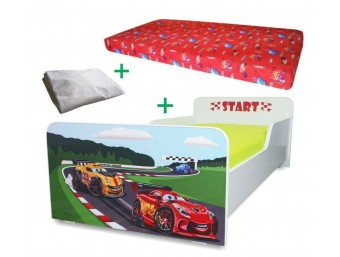 Pachet Pat copii Start Racing Mare + Saltea Spuma 160x80x12cm + Husa Impermeabila - 2-12 ani
