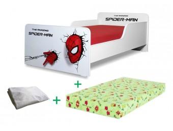 Pachet Pat copii Start Spiderman Mic + Saltea Spuma 140x70x12cm + Husa Impermeabila - 2-8 ani
