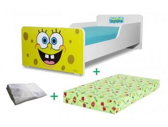 Pachet Pat copii Start Sponge Bob Mare + Saltea Spuma 160x80x12cm + Husa Impermeabila - 2-12 ani