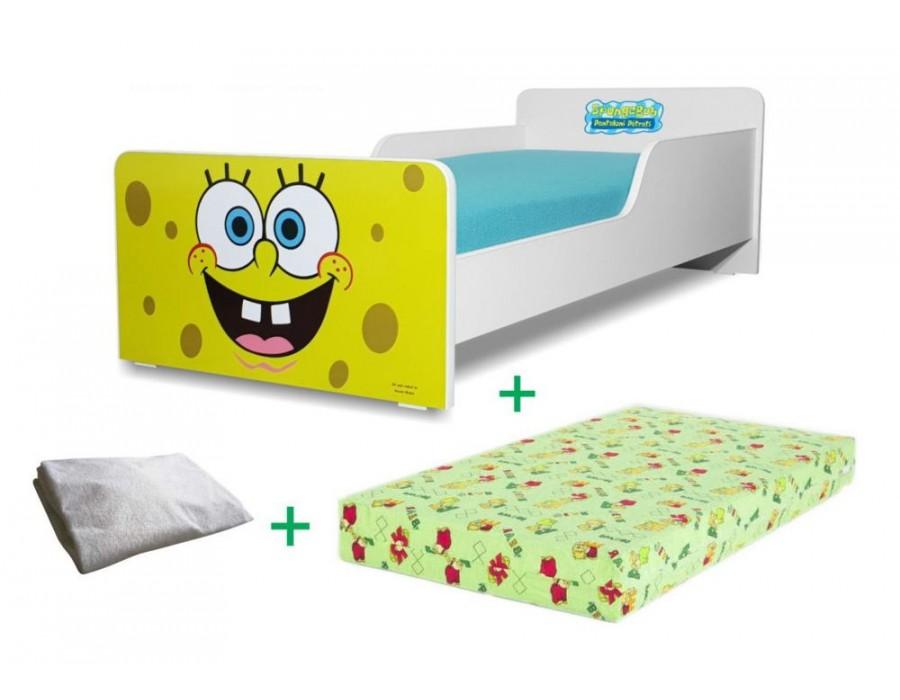 Pachet Pat copii Start Sponge Bob Mic + Saltea Spuma 140x70x12cm + Husa Impermeabila - 2-8 ani