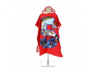 Prosop poncho copii cu gluga bumbac 100% Superman