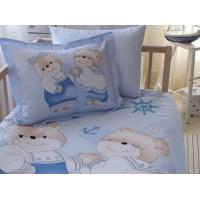 Lenjerie de pat copii Bumbac 100% Bear Toys Mavi