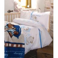 Set pat copii Sleepy: lenjerie bumbac 100% + patura